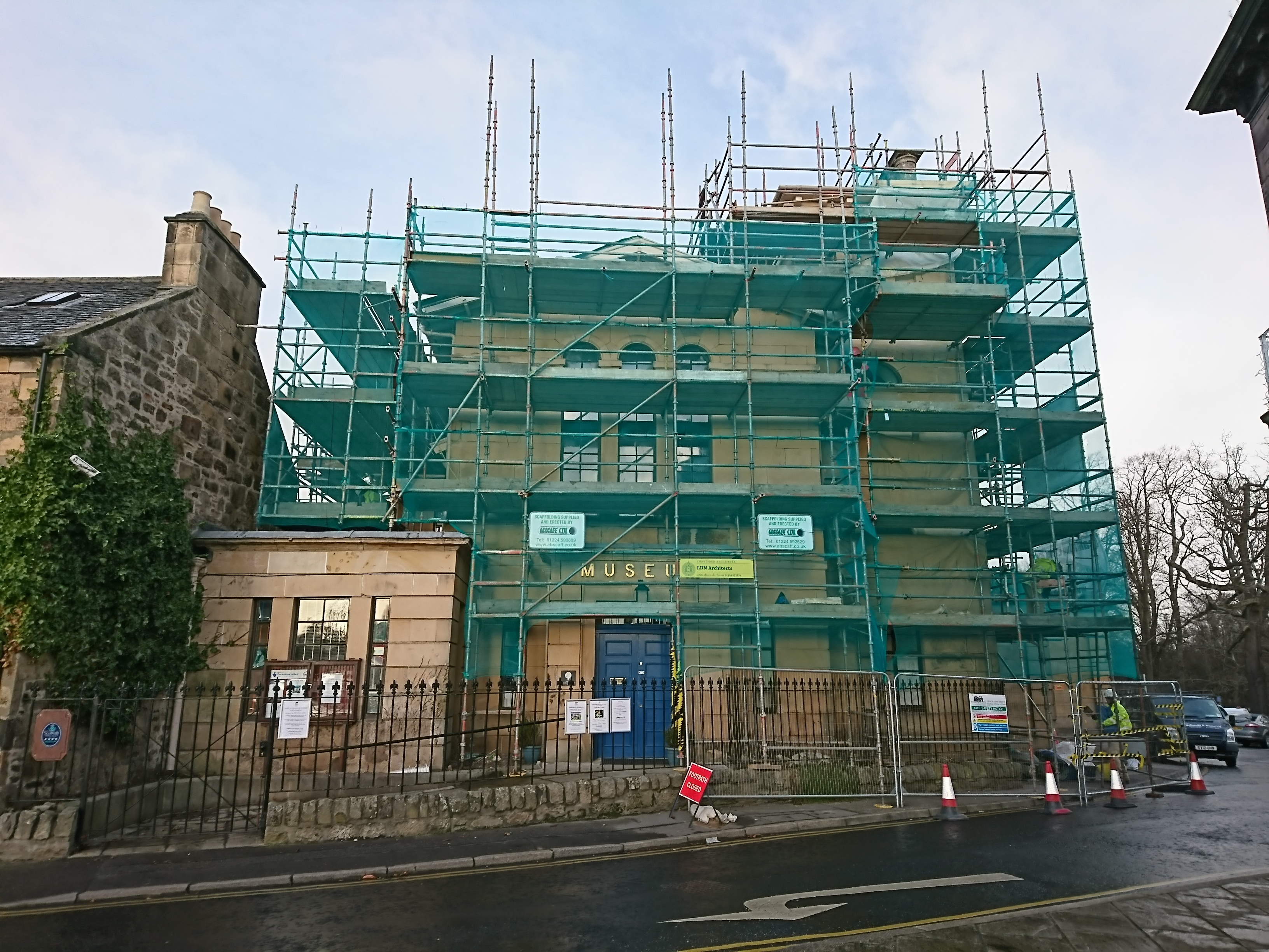Elgin Museum wrapped in scaffolding
