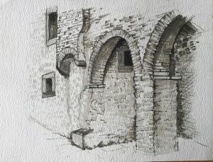 Sketch of stone archways, by Mary Byatt