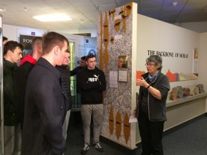 Janet Trythall giving a guided tour to Engineers stationed at Kinloss Barracks