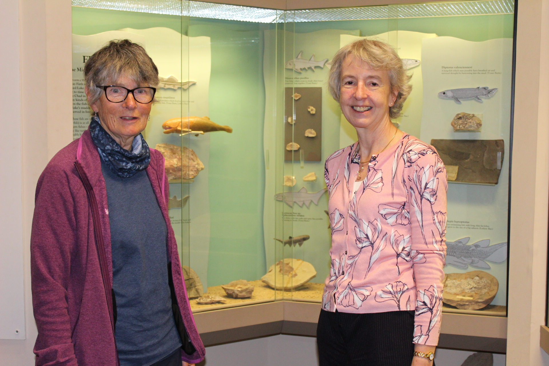 Janet Trythall and Prof Mary Orr with the Recognised fossil fish collection