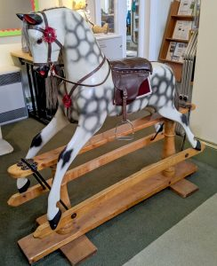 Full view of Napoleon the Rocking Horse, showing rocker mechanism